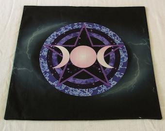 Altar Cloth or Tarot Mat - Dark Pentacle - Pagan or Wicca Altar or Tarot Cloth for Samhain or anytime