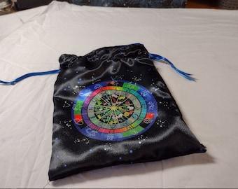 Tarot Bag or Altar Cloth Bag - Astrological Correlations - An Herbal Horoscope or Zodiac Based Tarot Cloth or Pagan or Wiccan Altar Cloth