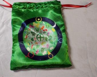 Tarot Bag or Altar Cloth Bag - Four Powers of Magick - Drawstring Bag for tarot readings and divination, runes, crystal reading, dice
