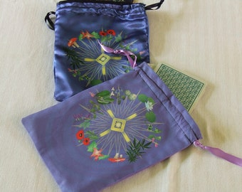 Tarot or Altar Bag -  Shaman's Botany - Altar or Tarot Drawstring Bag or Pouch - For Tarot Readings or Other Divination