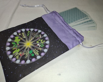 Tarot Bag or Pouch  - Altar Cloth Bag - Celtic Tree Calendar - for tarot readings and divination, runes, crystal reading, dice