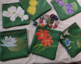 Witch Bags - Flower Design - Silk-lined Cotton Bags for Crystals, Herbs, Dice, Runes, Amulets or Small Tarot Decks - for spells or readings