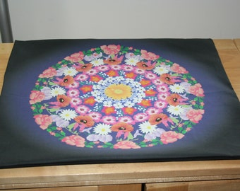 Altar Cloth or Tarot Mat - Flower Mandala - Dark Blue - Pagan or Wiccan Altar Cloth or Tarot Cloth for Litha or Beltane