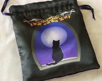Tarot Bag or Altar Bag - Bast In The Moon - Drawstring Bag for tarot readings and divination, runes, crystal reading,dice