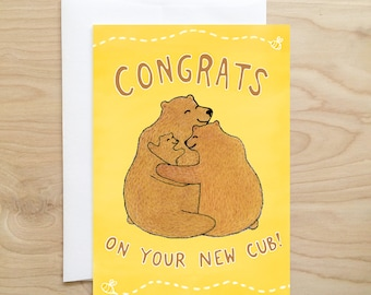 New Cub Card (new baby card - baby shower - baby shower card - card for baby shower - congratulations card - made in idaho - baby card)