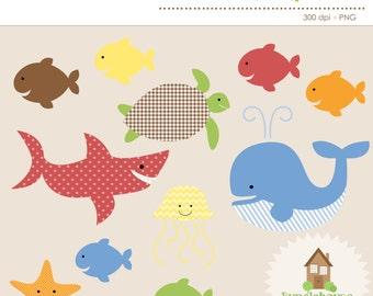 Ocean Clipart | Under the Sea Animal Graphics | Digital Ocean Clip Art | Instant Download | Personal & CU | Digital Scrapbook | Whale, Shark