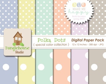 NEW Pastel Digital Papers | Spring Favorites Special Color Collection | HUE Make Me Happy | Mint, Peach, Spring Pastel Polka Dots Paper Pack