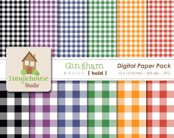 Gingham Digital Paper Pack | Black Purple Blue Green Orange Red Checked Papers | Digital Scrapbooking Basics | Bold Gingham Patterns