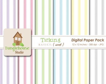 Pastel Ticking Digital Papers | Digital Scrapbooking Striped Backgrounds for Baby | Digital Paper Commercial Use for Baby Shower Invitations