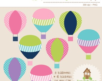 Hot Air Balloons Clip Art Set | Hot Air Balloon Clipart Graphics | Instant Download | Up Up and Away | Pink, Lime, Navy, Turquoise Balloons