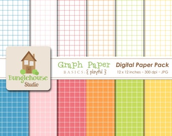 Digital Graph Paper | Scrapbooking Paper Pack | Instant Download | Digital Grid Paper