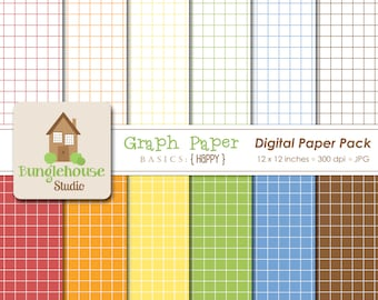 Graph Paper Digital Papers | Instant Download | Digital Scrapbooking Basics