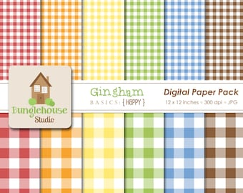 Gingham Digital Papers | CU Digitals | Gingham Background | Instant Download | Primary Color Gingham | Checked Paper Pack | Picnic Papers