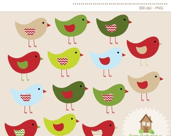 Christmas Bird Clip Art Christmas Birdies Winter Clipart Holiday Chevron Birds Digital Scrapbooking Instant Download Merry Style