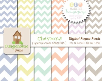 NEW Pastel Chevron Papers | Spring Favorites Special Color Collection | HUE Make Me Happy | Mint, Peach, Spring Pastel Colors Paper Pack