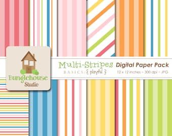 Multi-Stripe Digital Paper Pack Instant Download Digital Scrapbooking Basics Playful Style