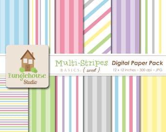 Multi Stripe Pastel Digital Paper Pack Instant Download Digital Scrapbooking Basics Sweet Style