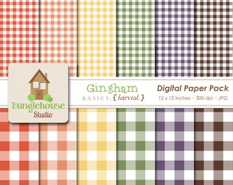 Fall Gingham Digital Paper Pack | Thanksgiving Digital Papers | Autumn Colors Scrapbooking Paper | Instant Download