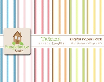 Digital Paper Ticking | Mattress Fabric Backgrounds | Pink Ticking | Bright Stripe 12x12 Jpegs | Instant Download Papers for Commercial Use