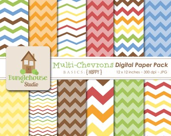 Chevron Digital Papers | Chevron Backgrounds | Multi Color Zig Zag Patterns | 12 x 12 Digital Scrapbooking Basics | Primary Color Chevrons