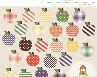 Apple Clip Art | Fall, Autumn, Thanksgiving, Harvest Apple Graphics | Patterned Apples Clipart | Digital Scrapbooking | Personal, CU Clipart