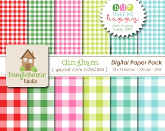 Christmas Gingham Digital Papers | Holiday Backgrounds | Red and Green Gingham | HUE Make Me Happy | Festive Christmas Colors Paper Pack
