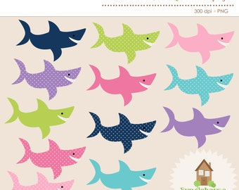 Shark Clip Art Set | Shark Clipart Graphics | Instant Download | Personal & Commercial Use | Cute Sharks | Girly Sharks