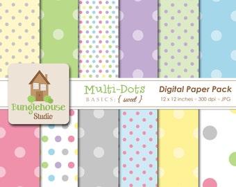 Multi Dot Digital Paper Pack | Digital Scrapbooking Basics | Pastel Polka Dots