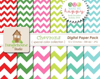 NEW Christmas Chevron Digital Papers | Holiday Favorites Special Color Collection | HUE Make Me Happy | Festive Christmas Colors Paper Pack