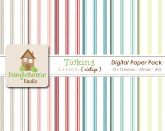 Ticking Digital Paper Pack Instant Download Digital Scrapbooking Basics Vintage Style