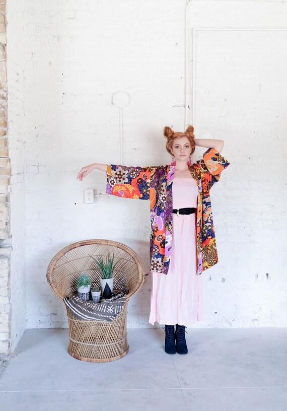 Kimono Robe Print 1960s 1960s Kimono Colorful xEFqYFPw
