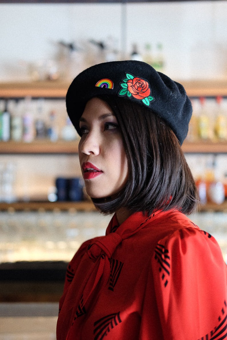09aa984431058 Rose Beret in Black 100% Wool with Pin and Patch SHIPS FREE