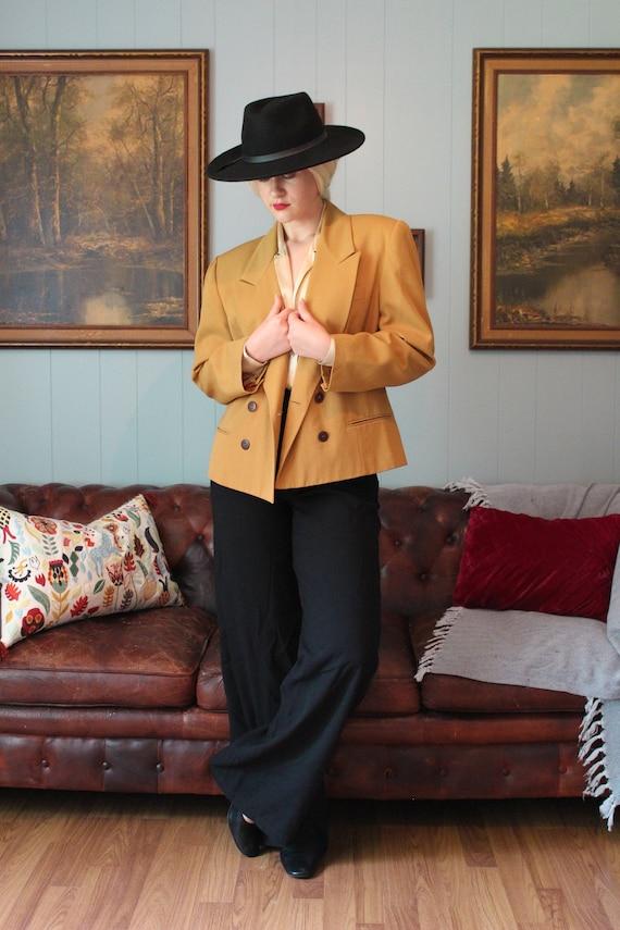 Mustard Yellow Boxy Cropped Oversized Wool Blazer