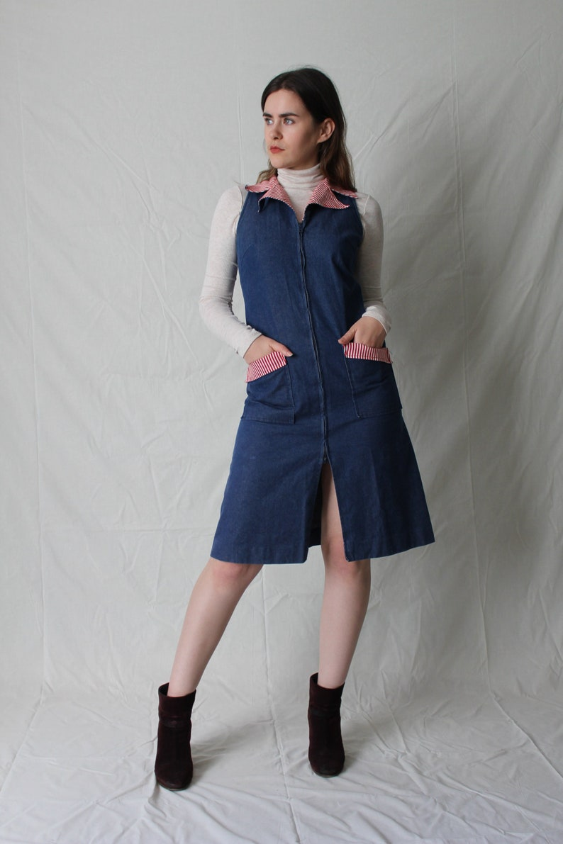 5a4cef04f0 Denim Zip Front Dress with Pockets and Collar | Striped Contrast Collar |  Jean A-Line Dress