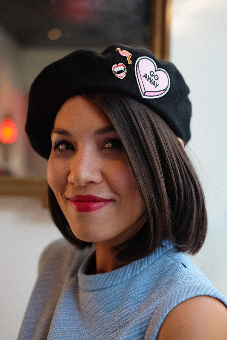 5ea2fa04f0b52 Candy Heart Beret with Cute Pins SHIPS FREE French Beret