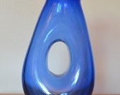 GORGEOUS electric cobalt blue donut hole modern decanter carafe vase