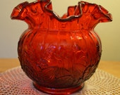 Pristine Fenton Olde Virginia Glass ruffled rim Vase in Ruby Cherry Red with molded flowers