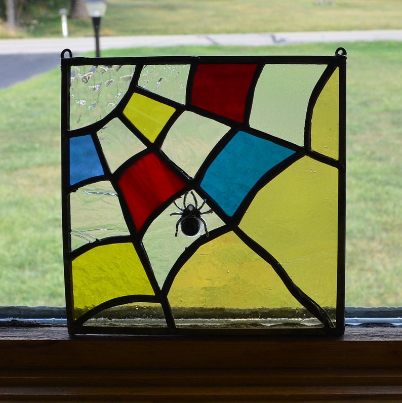 Adorable Handmade Stained Glass Halloween Suncatcher!! Spider and Web