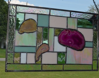 Large Stained Glass Abstract Panels with Crystal Geodes!!! One of a Kind!!!