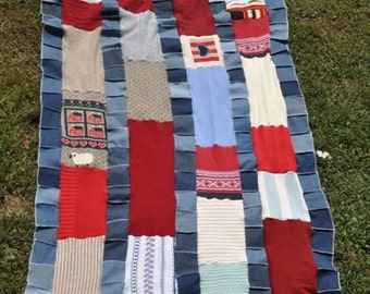 Patriotic afghan sweater/blue jean blanket red, white, and blue / Americana