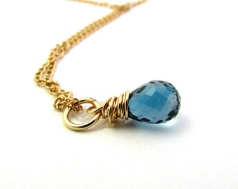 December birthstone jewelry, London blue topaz necklace, london blue topaz pendant, navy blue gemstone necklace, gold blue topaz jewelry
