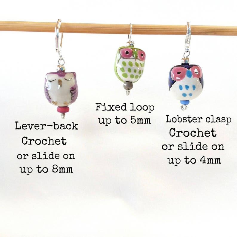 Stitchmarkers for crochet...6 Little Owls with clasps