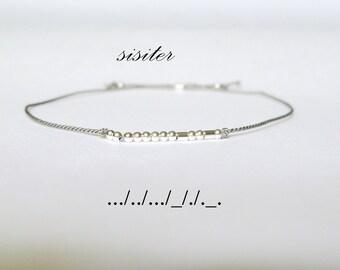 Sister Morse Code Bracelet-Minimalist Jewelry-Secret message friendship bracelet-Stacking bracelet-Sterling Silver Silk thread Bracelet