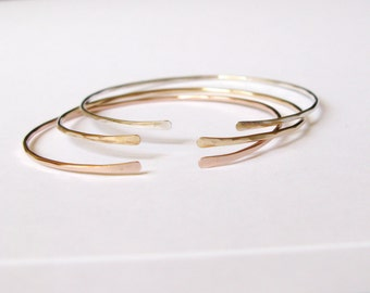 Thin gold filled cuff-Dainty thin hammered gold cuff-silver cuff-Simple stacking bracelet set