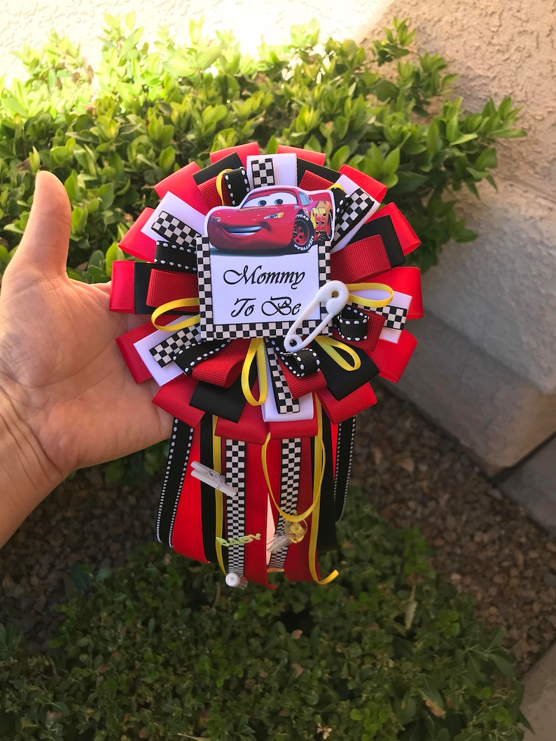Cars baby shower mommy pin-cars baby shower mommy to be disney cars boy baby shower-baby shower cars-mommy to be corsage