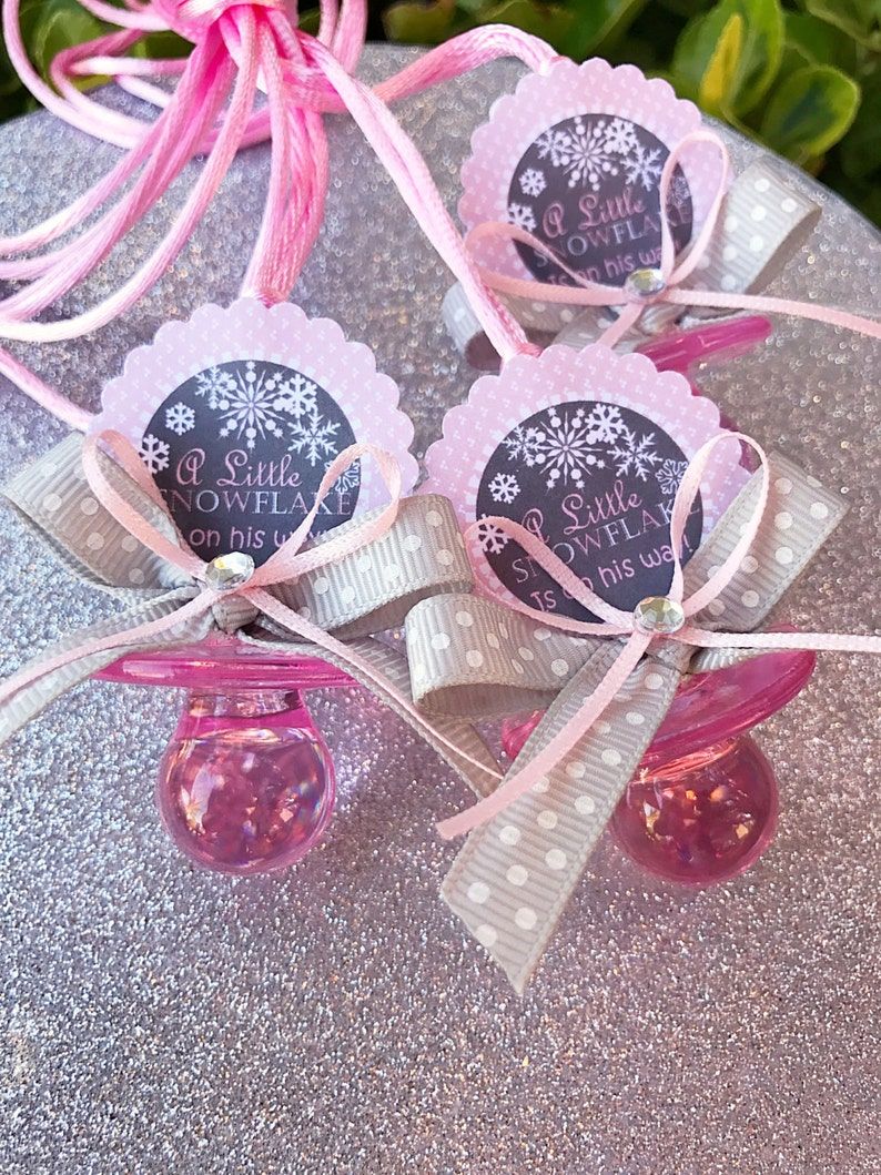 baby it/'s cold outside-winter winter baby shower-pink and silver baby shower-girl baby shower 12 plastic pacifiers baby shower favors