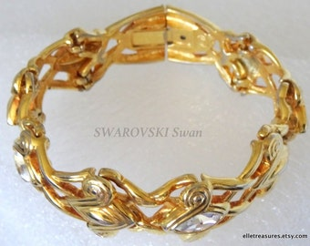 b52278c54ce4 SWAROVSKI Swan Crystal Goldplated Chained Chain Links Paneled Wide Scroll  Bangle Bracelet Cuff Marquis Crystals Etruscan