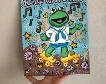 Keep on Truckin' — Baby Kermit gouache painting