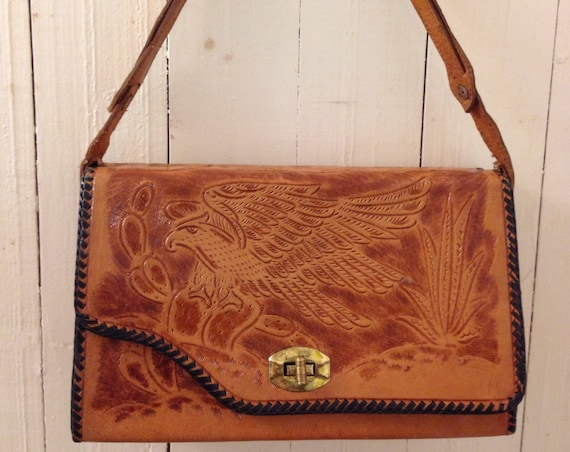 1970s hand tooled reversible leather handbag