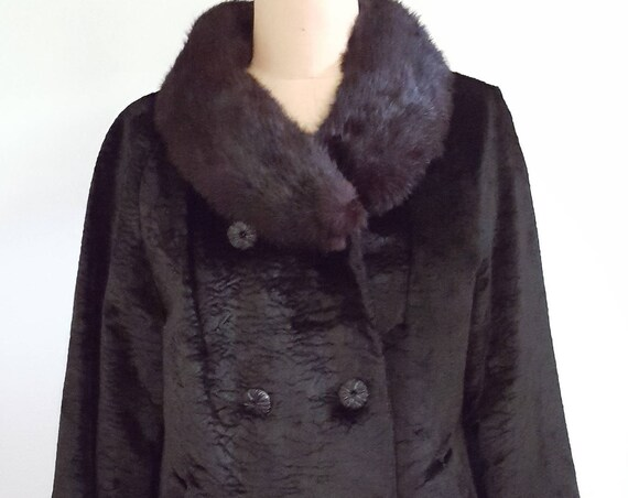 1960s black cocktail jacket | 60s faux persian lamb with fur collar size medium